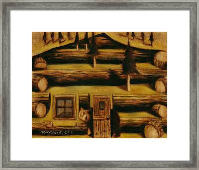 Cabin Fever Grizzly Bear Art Print Framed Print by Tommervik