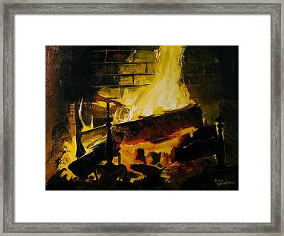 Cabin Fireplace Framed Print by Doug Strickland