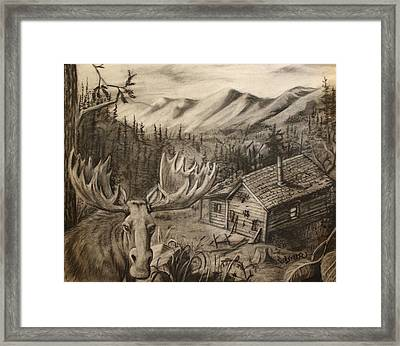 Cabin In Moose Valley Framed Print