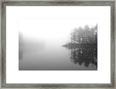 Cabin In The Foggy Woods Framed Print