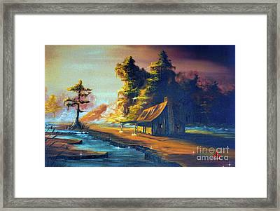 Cabin In The Mist Framed Print by Barbara Hebert