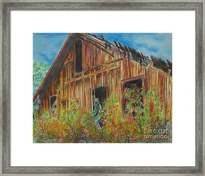 Cabin In The Mountains Framed Print by Stephanie  Skeem