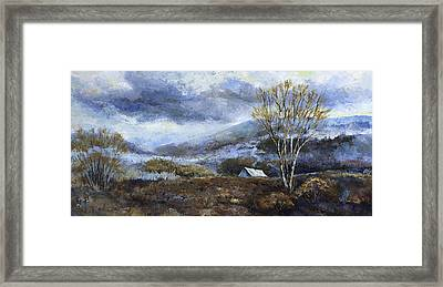 Cabin In The Mountains Framed Print by Peggy Wilson