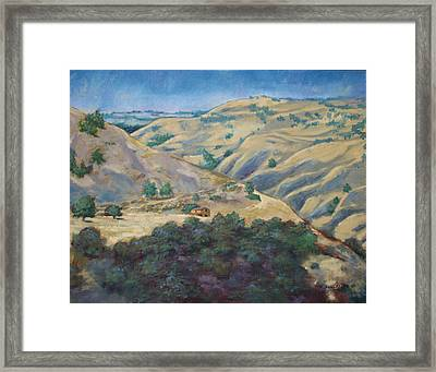 Cabin In The Mountains Framed Print by Ron Bowles