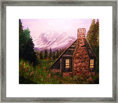 Cabin In The Mountains Framed Print