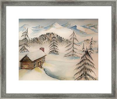 Cabin In The Rockies Framed Print