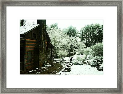 Cabin In The Snow Framed Print by Adam LeCroy