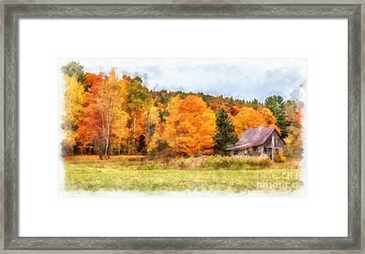 Cabin In The Woods Autumn Framed Print by Edward Fielding