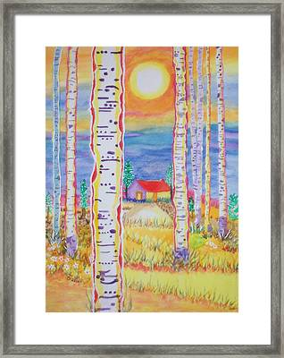 Framed Print featuring the painting Cabin In The Woods by Connie Valasco