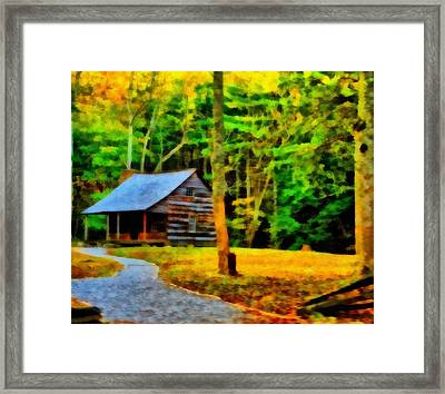 Cabin In The Woods Framed Print by Dan Sproul