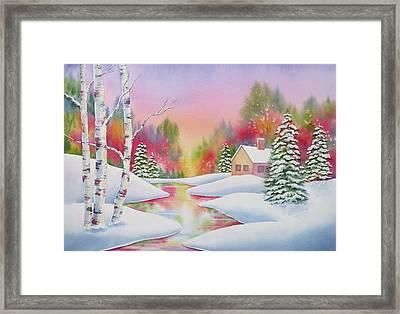 Cabin In The Woods Framed Print by Deborah Ronglien
