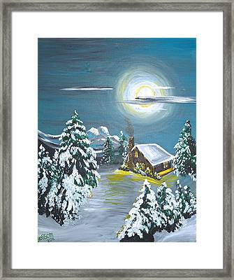 Cabin In The Woods Framed Print by Donna Blossom