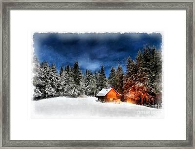 Cabin In The Woods Framed Print by Edward Fielding
