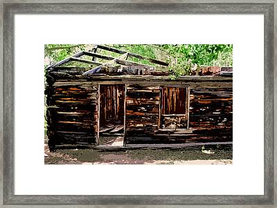 Cabin In The Woods Framed Print by Ellen Heaverlo