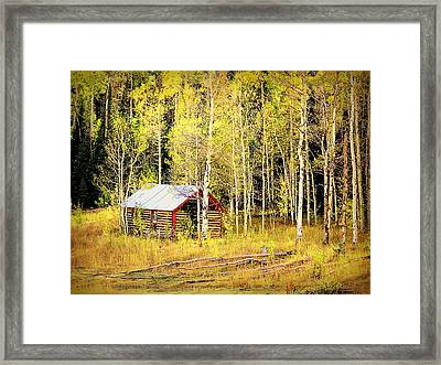 Cabin In The Golden Woods Framed Print