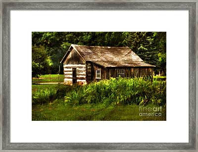 Cabin In The Woods Framed Print by Lois Bryan