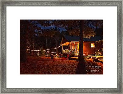 Cabin In The Woods Framed Print by Lori Dobbs