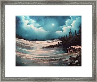 Cabin In The Woods  Framed Print by Paintings by Justin Wozniak