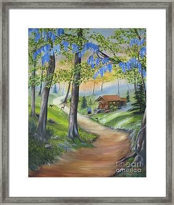 Cabin In The Woods Framed Print by RJ McNall