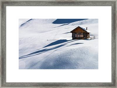 Cabin In Winter Framed Print by Carlo Trolese