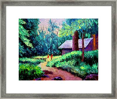 Cabin In Woods Framed Print by Stan Hamilton