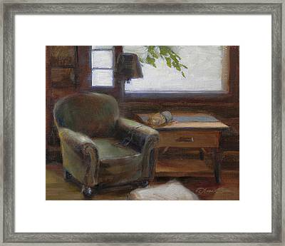 Cabin Interior With Yarn Framed Print by Anna Rose Bain
