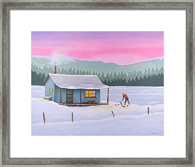 Cabin On A Frozen Lake Framed Print