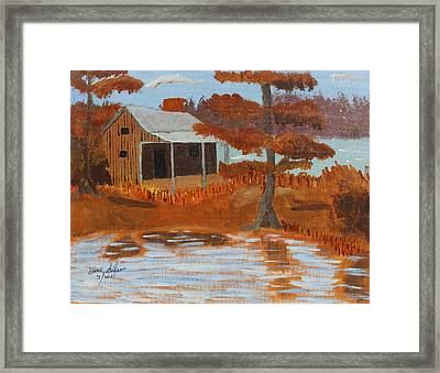 Cabin On Lake Framed Print