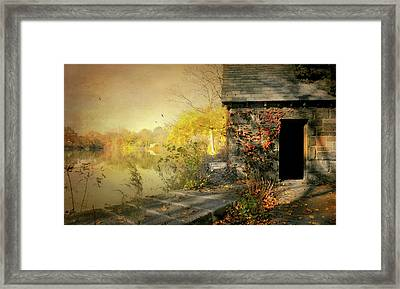 Cabin On The Reservoir Framed Print