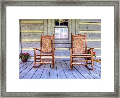 Cabin Porch Framed Print by Marion Johnson