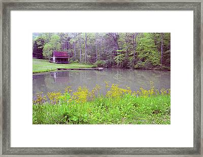 Cabin Reflection Framed Print by Alan Lenk