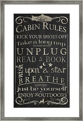 Cabin Rules I Framed Print by Mindy Sommers