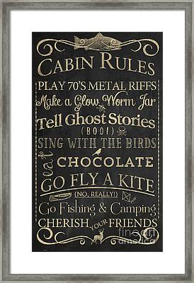 Cabin Rules II Framed Print by Mindy Sommers