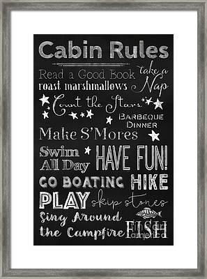 Cabin Rules Lodge Fun Chalkboard Typography Art Framed Print