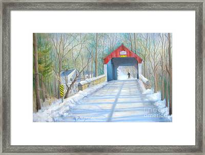 Cabin Run Bridge In Winter Framed Print