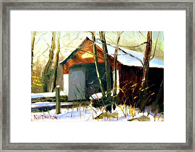 Cabin Run Covered Bridge Framed Print by Kit Dalton