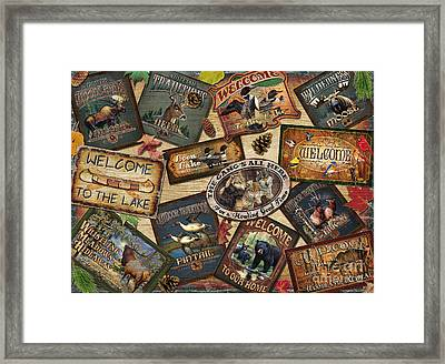 Cabin Sign Collage Framed Print by Cynthie Fisher JQ Licensing