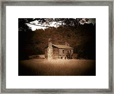 Cabin Thru The Trees Framed Print by Joyce Kimble Smith