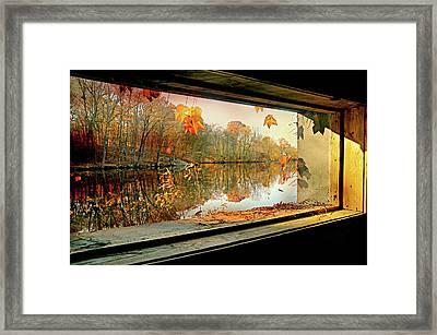 Cabin On The Ledge Framed Print