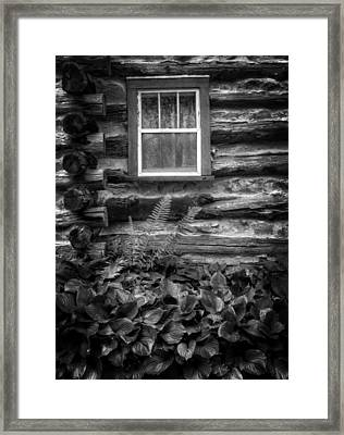 Cabin Window In Black And White Framed Print