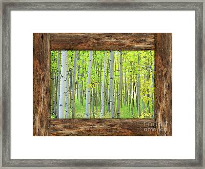 Cabin Window View Into The Woods Framed Print