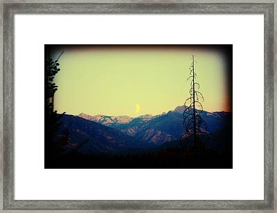 Cabinet Mountain Moon Framed Print by Brent Sisson