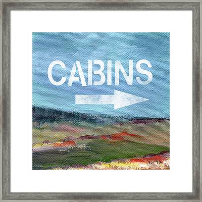 Cabins- Landscape Painting By Linda Woods Framed Print by Linda Woods