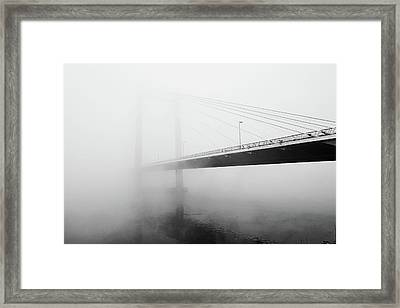 Cable Bridge Disappears In Fog Framed Print by Photos by Sonja