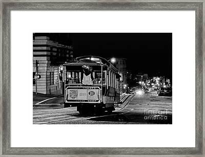 Cable Car At Night - San Francisco Framed Print