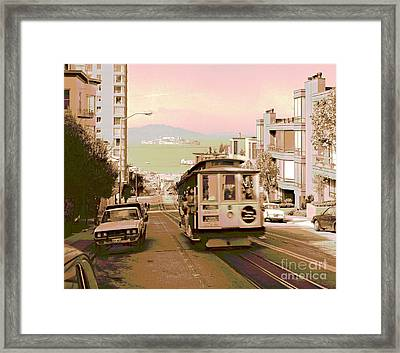 Cable Car On Hyde Street Hill San Francisco Framed Print by Padre Art