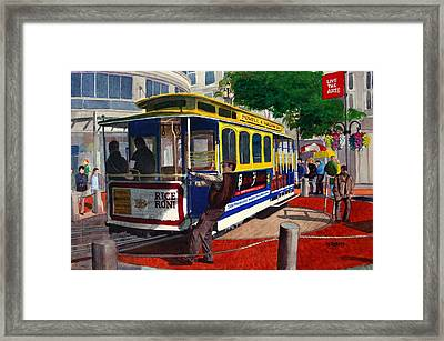 Cable Car Turntable At Powell And Market Sts. Framed Print by Mike Robles