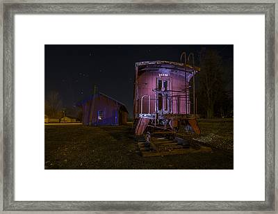 Caboose And Depot In Rural Illinois One Starry Night Framed Print by Sven Brogren