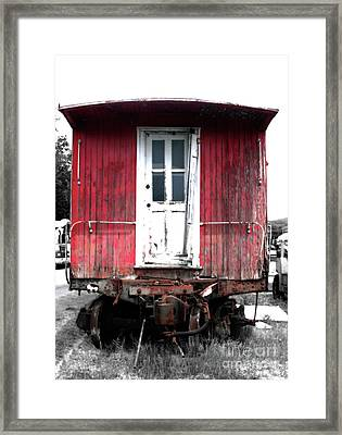 Caboose In Barn Red  Framed Print by Steven Digman