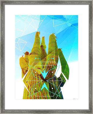Framed Print featuring the mixed media Cacti Embrace by Michelle Dallocchio